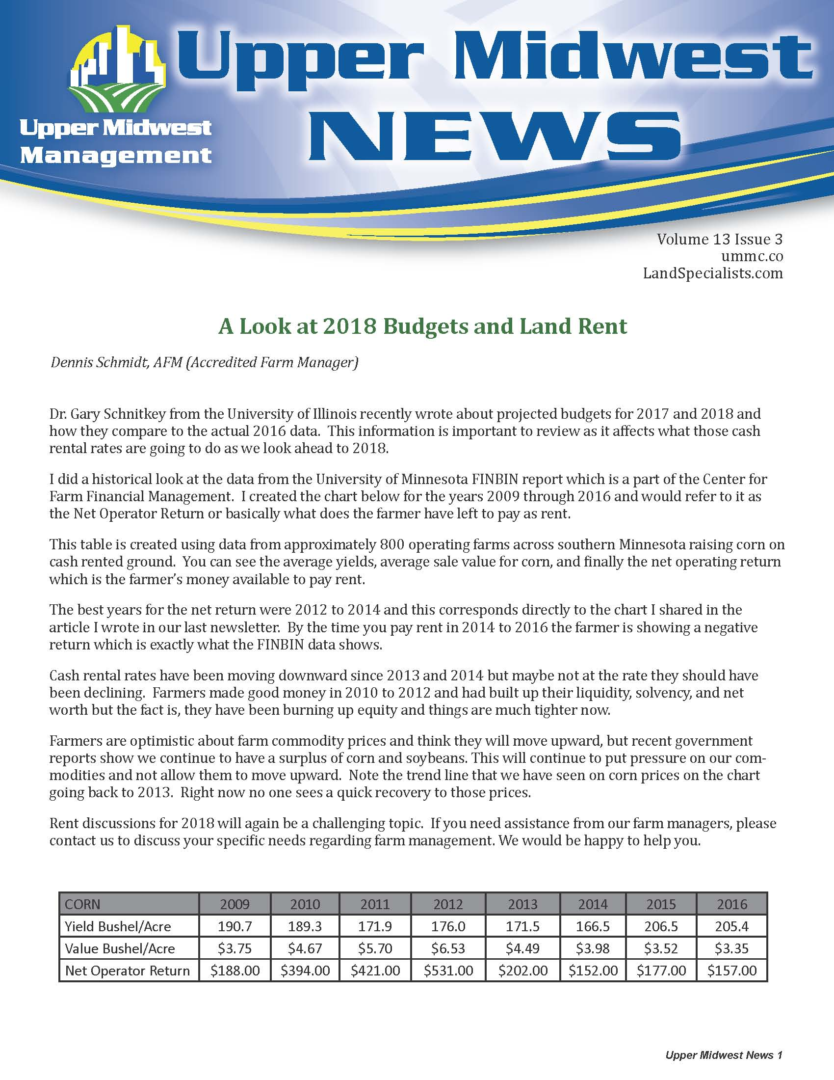 A Look at 2018 Budgets and Land Rent